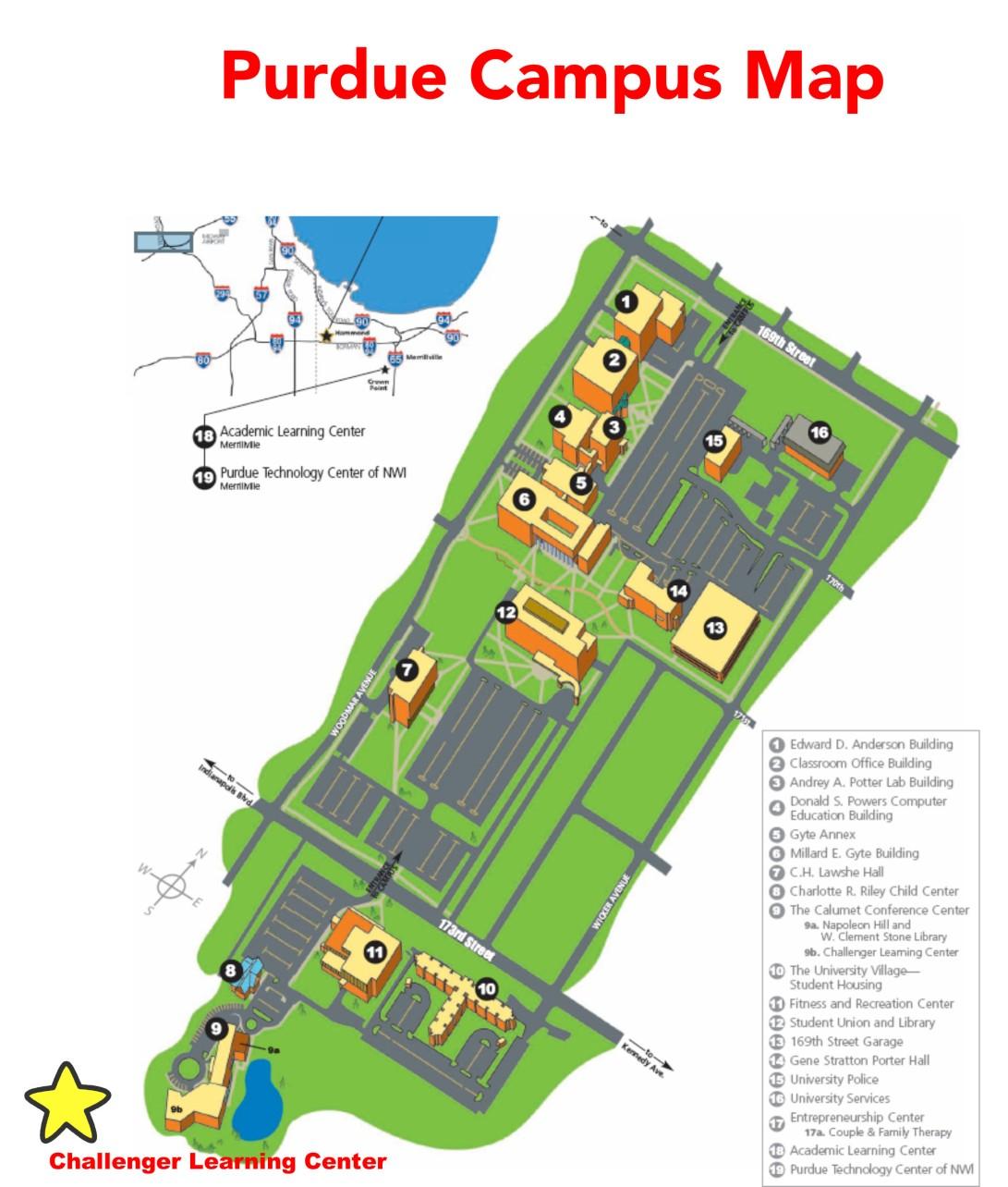 purdue calumet campus map Directions To Challenger Center Challenger Mission Training purdue calumet campus map